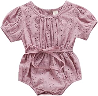 HZYKOK Newborn Toddler Infant Baby Girl Ruffle Romper Short Sleeve Bodysuit Jumpsuit Clothes Summer One Piece Outfits