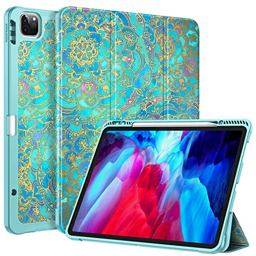 CaseBot SlimShell Case for iPad Pro 12.9' 4th & 3rd Generation 2020 / 2018 with Pencil Holder - Smart Stand Soft TPU Back Cover, Support Pencil 2nd Gen Charging & Auto Wake/Sleep, Shades of Blue