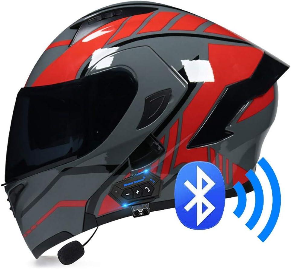 TORC T14B Blinc - Casco de moto con Bluetooth integrado