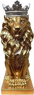 彫刻 クラウンライオン像ホームオフィスバーライオン信仰樹脂彫刻モデル工芸動物折り紙抽象アート装飾ギフト スタチューホームアクセサリー (Color : Gold, サイズ : 20x8x10cm)