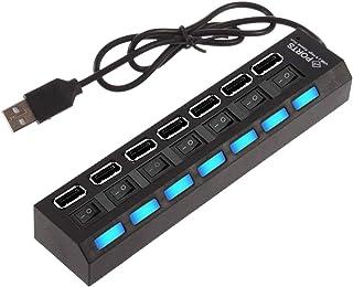 YFreeyding® Hub USB, adattatore multiporta USB 2.0, prolunga USB, splitter USB, hub USB a 7 porte con 7 interruttori per t...