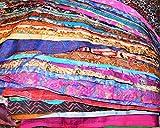 Huge Lot 100% Pure Silk Vintage Sari Fabric...