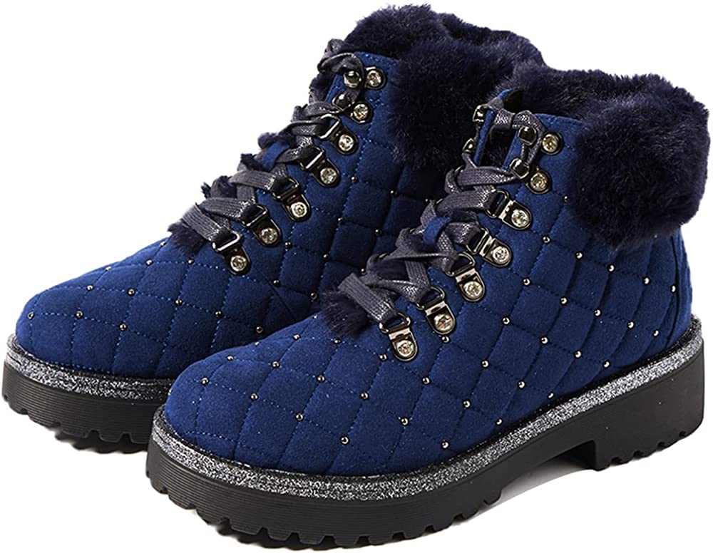 JWJ Women's Boots Winter Lace Up Snow Boots Leather Warm Waterproof Outdoor Ankle Booties