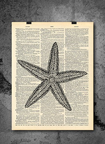Starfish Nautical Prints - Vintage Dictionary Print 8x10 inch Home Vintage Art Abstract Prints Wall Art for Home Decor Wall Decorations Ready-to-Frame