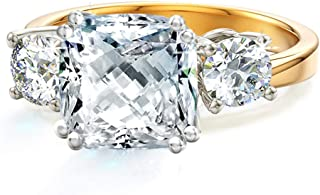 Meghan Markle Engagement Rings Inspired by Royal Wedding with 3-Stone Cushion CZ AAA Cubic Zirconia, Stackable Wedding Rings Band for Women in Yellow Gold, Rose Gold & Rhodium Plating