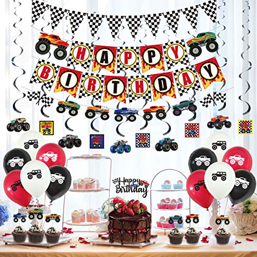 39 Pcs Monster Truck Birthday Supplies - Happy Birthday Banner Monster Truck Banner Triangle Bunting Flags, Hanging Swirls Truck Shape, Multicolor Balloons with Truck, Cake Topper and Cupcake Toppers