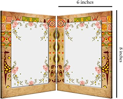999Store Classical Pattern 2 Sided Folding Photo Frame (Printed MDF_12X8 Inches_Multi)