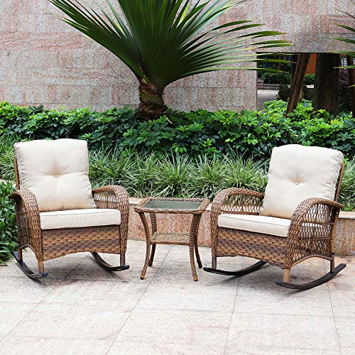 ABBLE 3PC Wicker Rocking Conversation Set Outdoor Rocking Chair Patio Bistro Set Seating Group with Cushions - Light Brown