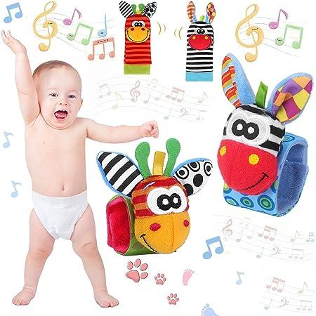 4PCS Sonagli Calzini Polso Baby Rattle Neonato per Piedi Simpatici Animaletti Developmental,Bracciale Polsi di Simpatici Animaletti Set Peluche Bambole per Infanzia Bambini Mano Piedi