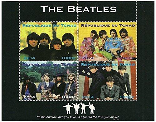Beatles francobolli in foglio di 4 rilasciato nel 2014 Ciad/Mint e smontato
