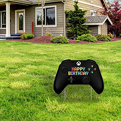 Video Game Happy Birthday Yard Sign, Video Game Shape Lawn Signs with Stakes for Boys and Girls