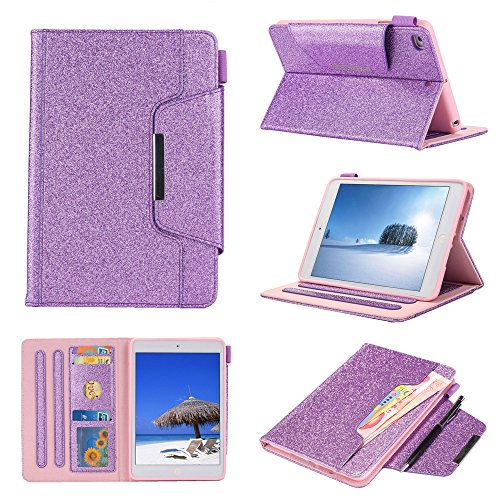 Bumina Case voor iPad Mini 5 2019, ShockProof Glitter Sparkle Slim PU Lederen Zachte TPU Inner, Stand Smart Cover Auto Wake/Sleep Smart Case voor Apple iPad Mini 5/ Mini 4 7.9 Inch Tablet 3