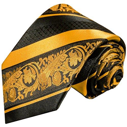Cravate homme or noir rayée 100% soie