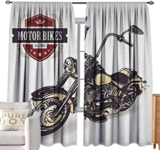 Andrea Sam Thermal Insulated Blackout Curtain Motorcycle,Chopper Customized Motorcycle with Club Insignia Motor Bikes Hippie Classic, Black Beige Light Filtering, Privacy,W120 x L84 inch