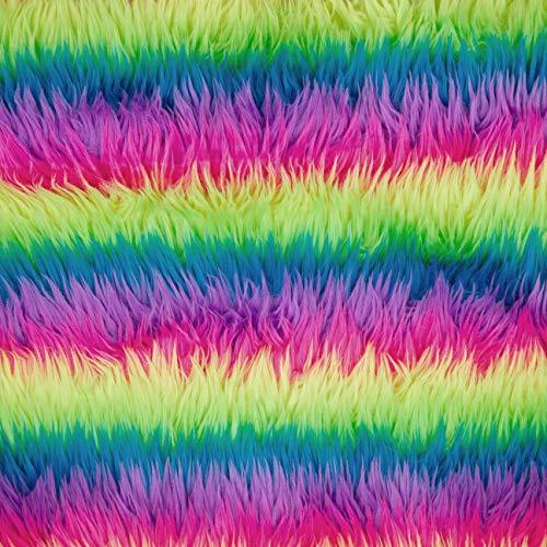 FabricLA Zotteliger Kunstfell-Stoff, 152,4 x 45,7 cm, zum Basteln, Hobby, Kostüm, Dekoration, Neon-Regenbogen