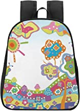 Doodle College Backpack,Childlike Drawing of a Hill with Colorful Sun a Tree and Clouds Simple Abstract Art for Picnic,One_Size