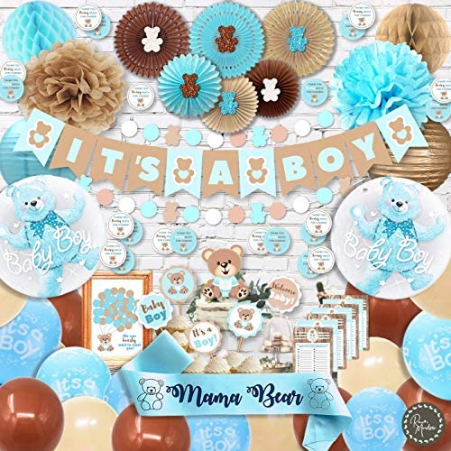 RainMeadow Teddy Bear Baby Shower Decorations for Boy It s A Boy Banner Sash Guestbook Favour product image