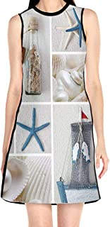 Women's Sleeveless Dress Bottle Seashell Starfish Lighthouse Fashion Casual Party Slim A-Line Dress Midi Tank Dresses