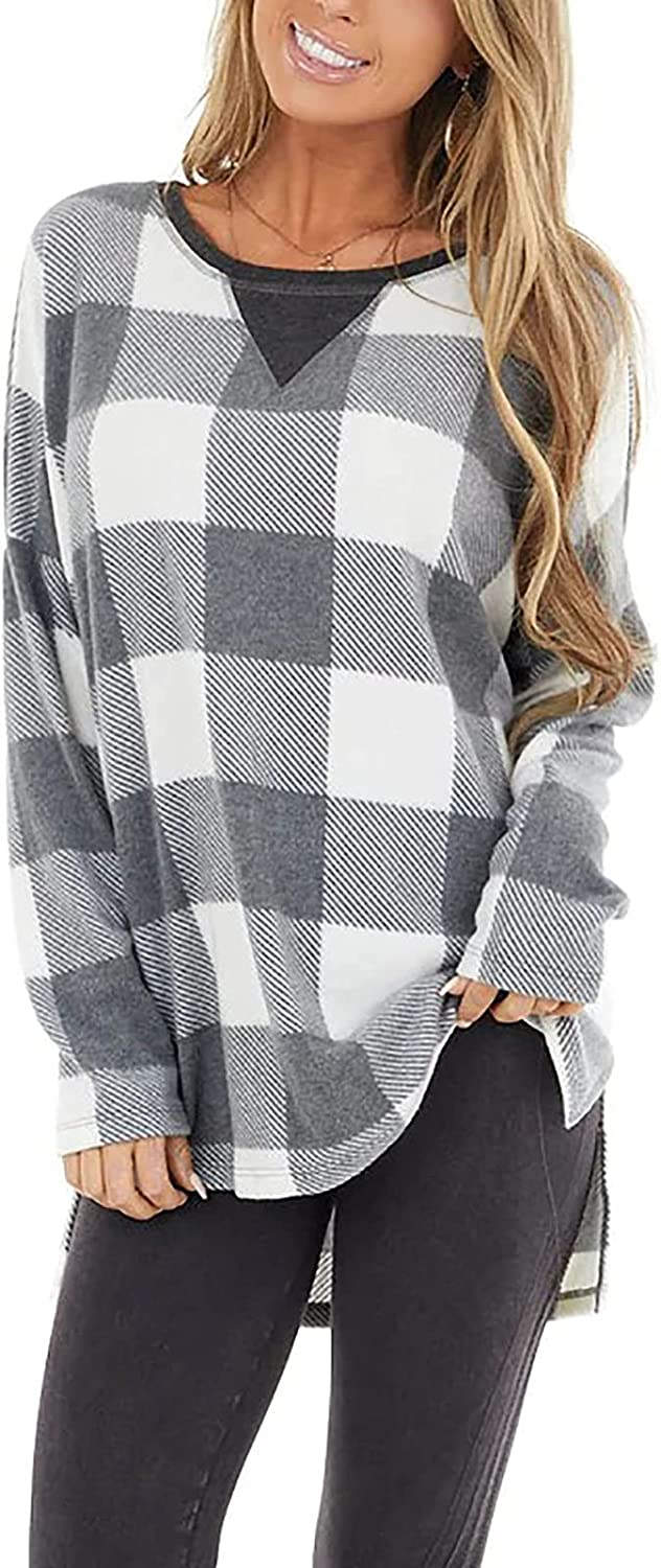Blouses for Women Fashion Plaid Long-Sleeved Tops Daily All-Match Casual Pullover Sexy Big O Neck Loose Shirt