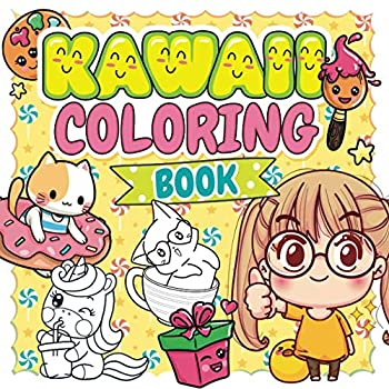 Kawaii Coloring Book  Cute and easy coloring book with 40 kawaii drawing for kids and toddlers | For fans of anime manga japan and doodle | Kawaii .. | Coloring pages for girls boys and teens