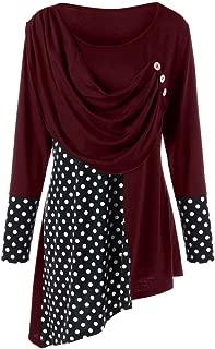 DEZZAL Women's Long Sleeve Scoop Neck Polka Dot Asymmetric Draped Top