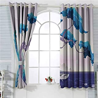 hengshu Coastal Decor Room Darkening Curtains for Bedroom Fantastic Landscape Bonsai Tree Sea Water Lilies Daisies and Boat Bedroom Decor Blackout Shades W96 x L96 Inch Blue Light Blue Lilac