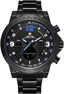 WEIDE WH6908 Dual Display Two Movement Quartz Digital Men Watch 3ATM Waterproof LCD Backlight Luminous Sport Calendar 24-H...
