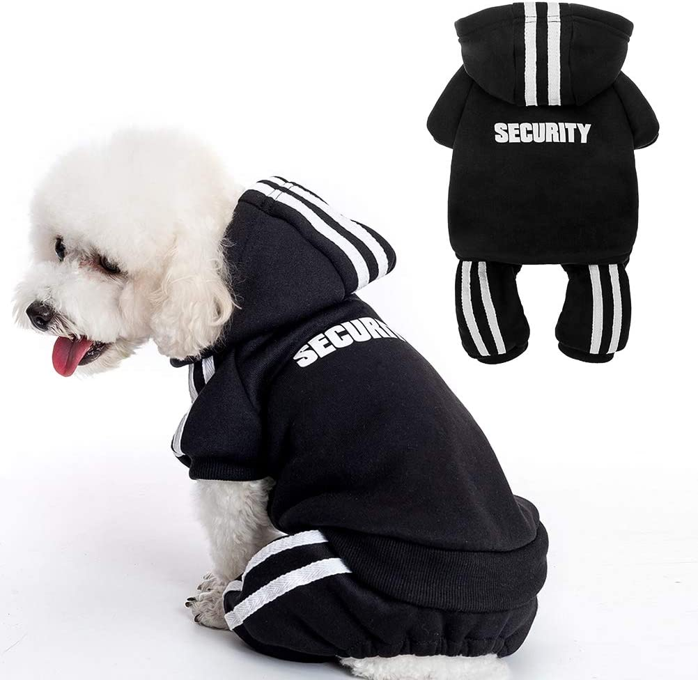 for Small Medium Large Dogs Cold Weather Clothes for Dogs Sweatshirt with Hat BINGPET Security Dog Hoodie Winter Dog Coat Soft and Warm Dog Sweater