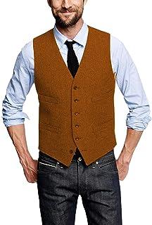 Mens Classic Tweed Suit Vest Herringbone Slim Fit Waistcoat for Wedding Groomsmen