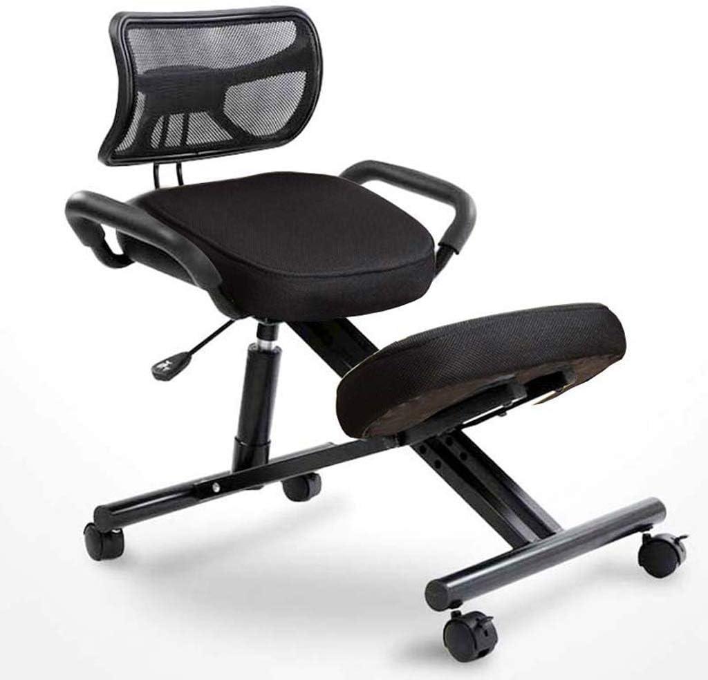 YAMMY Chaises à Genoux Chaise de Bureau Tabouret à Genoux Chaises orthopédiques Favorise Une Bonne Posture Cadre en métal avec poignée et roulettes (Couleur: Rouge) Noir