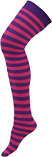 HDE Women's Plus Size Striped Stockings Thigh High Over the Knee OTK Sheer Nylons (Purple Pink Stripes)