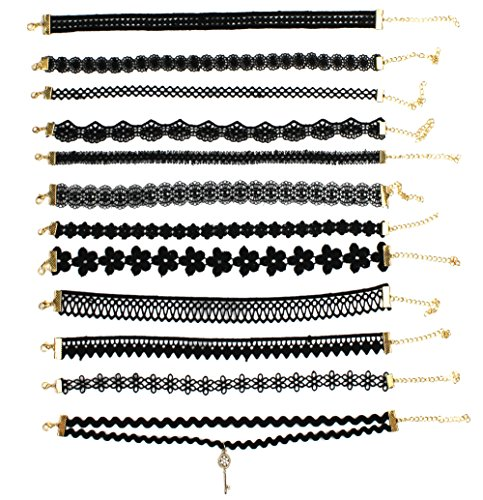 Conjunto Syleia de 12 colares gargantilha estilo bordado de renda preta com flores exclusivas e desenhos geométricos, ajustável, ajuste confortável