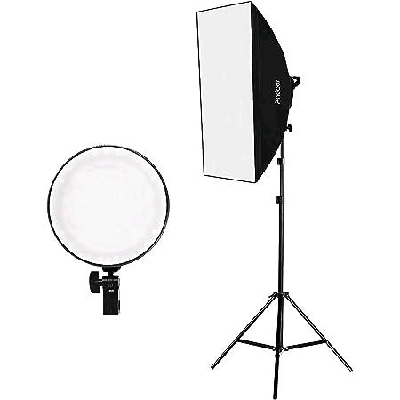 Andoer ソフトボックス 写真撮影照明キット 50x70cm ソフトボックス LEDライト 45W 2色温度 2700K / 5500K 調光可能 2mライトスタンド キャリーバッグ スタジオ撮影用 ポートレート写真撮影用 ビデオ録画用