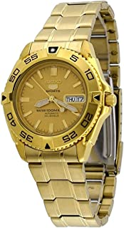 Seiko 5 Men's Gold Dial Stainless Steel Automatic Watch - SNZB26J1