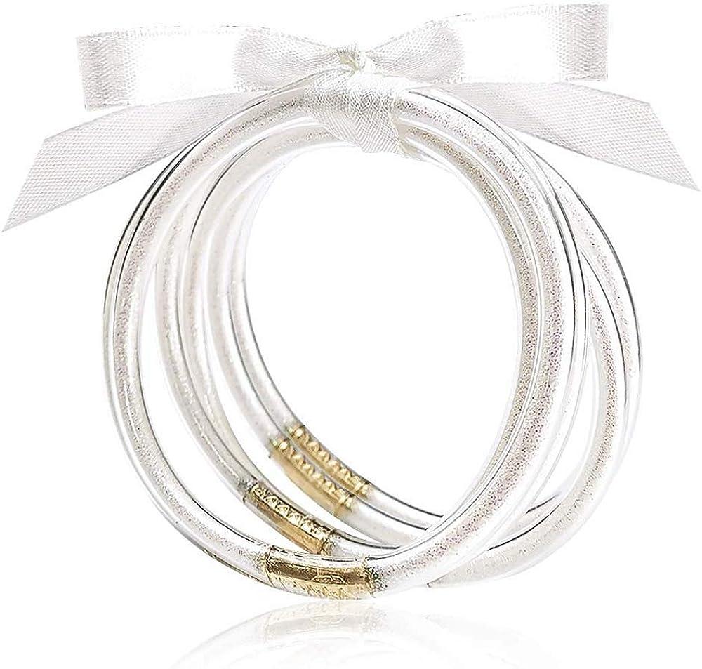 MJartoria Glitter Jelly Bangles Bracelets Set Glitter Filled Jelly Silicone Bracelets for Women Girls