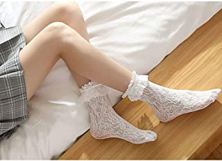 2 Pairs Of Autumn New Sweet Retro Woman Girl Lotus Leaf Casual Lace Princess Socks Socks