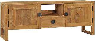 pedkit Mueble para TV Mesa para TV Salón con 2 Puertas 1 Estante y 1 Cajón de Madera Maciza de Teca 120x32x45 cm