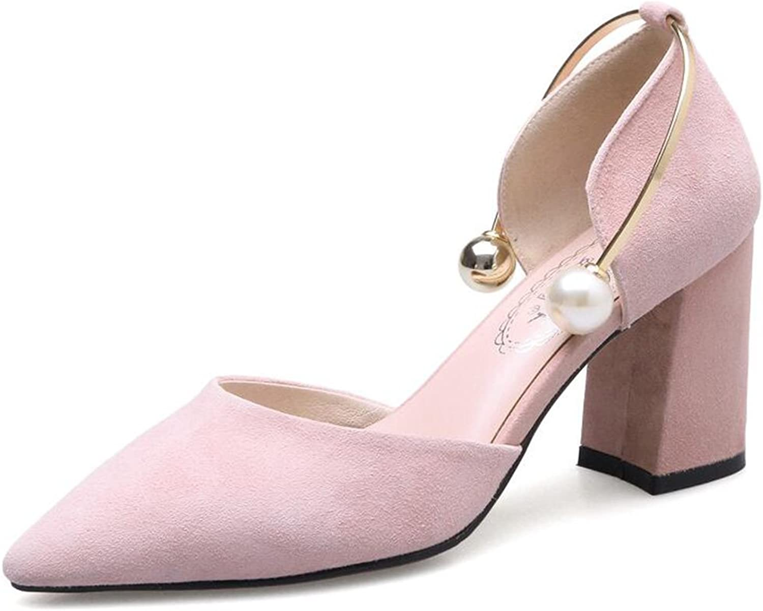 Spring Sheepskin Pointed Thick with High Heels shoes Large Size Pearl Wedding shoes Hollow Single shoes Female