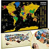 BIBIEN Scratch Off Map of The World + USA Map - Set of Two Deluxe Gold Scratch-Off Travel Posters with Colorful Countries, US States and Flags
