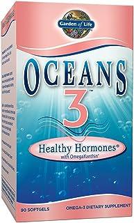 Garden of Life Oceans 3 Healthy Hormones - Strawberry, 525mg EPA, 350mg DHA + Botanicals - Menopause Hormon...