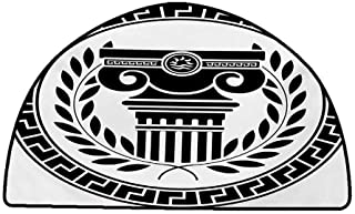 Printed Mats for Children Bedroom Toga Party,Hellenic Column and Laurel Wreath Heraldic Symbol with Olive Branch Graphic,Black White,W31
