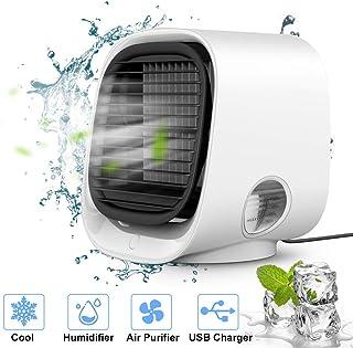 Aire acondicionado portátil pequeño Sporgo, 4 en 1, con ventilador, humidificador de aire, 3 velocidades, 7 colores, LED, para el hogar, oficina, exterior, USB, mini enfriador de aire personal