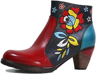 Moda Tacco Alto Stivaletti Donne Ricamato Flower Cuoio di Strato Superiore Calzari Side Zipper Fashion Boots