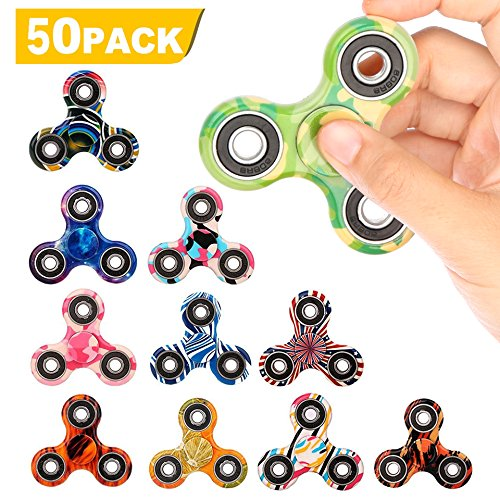 SCIONE 50 Pack Fidget Spinner ADHD Anxiety Stress Relief Toys for Adults Kids Autism Fidgets Best EDC Hand Spinners Bearing Trispinner Finger Toy Focus Fidgeting Restless Tri-Spinner