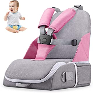 Travel Booster Seat,Feeding Booster Mommy Bag Foldable Large Capacity As High Chair for Babies Toddlers for Journeys,Pink