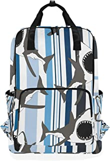 FAJRO Mochila de Moda con diseño de Rayas de tiburón
