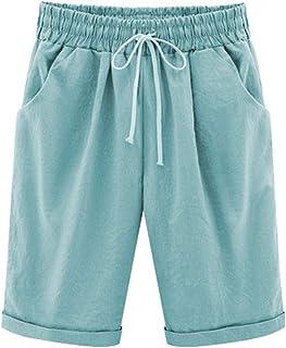 Elonglin Bermudas para mujer, de algodón, hasta la rodilla, pantalones cortos de verano, con cordón, tallas grandes, suelt...