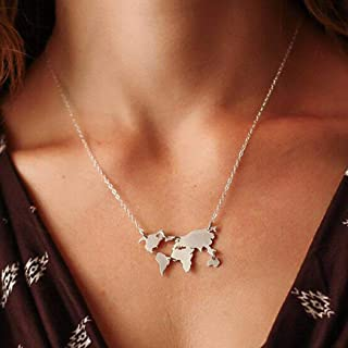 Zoestar World Continents Pendant Chain World Map Necklace Jewelry Travel Gift for Women and Man (Silver)