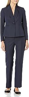 NINE WEST Women's 1 Button Peak Lapel Mini Herringbone Jacket and Pant, Navy/Blue, 6