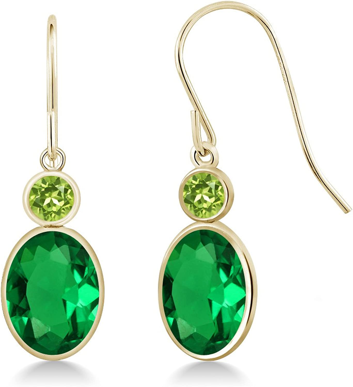 2.54 Ct Oval Green Nano Emerald Green Peridot 14K Yellow gold Earrings